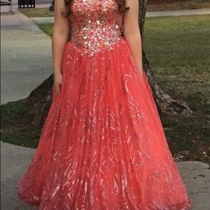 Jovani long coral dress size 6 with corset back